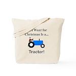 Blue Christmas Tractor Tote Bag