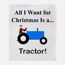 Blue Christmas Tractor Throw Blanket