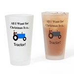 Blue Christmas Tractor Drinking Glass
