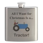 Blue Christmas Tractor Flask