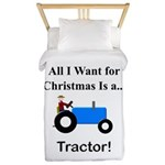 Blue Christmas Tractor Twin Duvet
