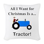 Blue Christmas Tractor Woven Throw Pillow