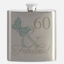 60th Birthday Butterfly Flask