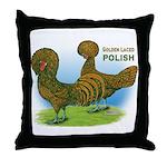 Golden Polish Fowl Throw Pillow