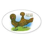 Golden Polish Fowl Oval Sticker
