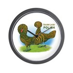 Golden Polish Fowl Wall Clock