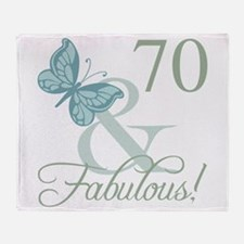70th Birthday Butterfly Throw Blanket