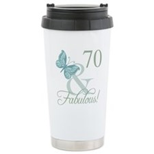 70th Birthday Butterfly Travel Mug