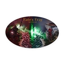 Fate's Fray Oval Car Magnet