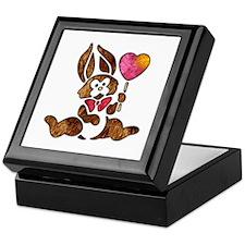 Valentine Art Heart and Bunny Rabbit Keepsake Box