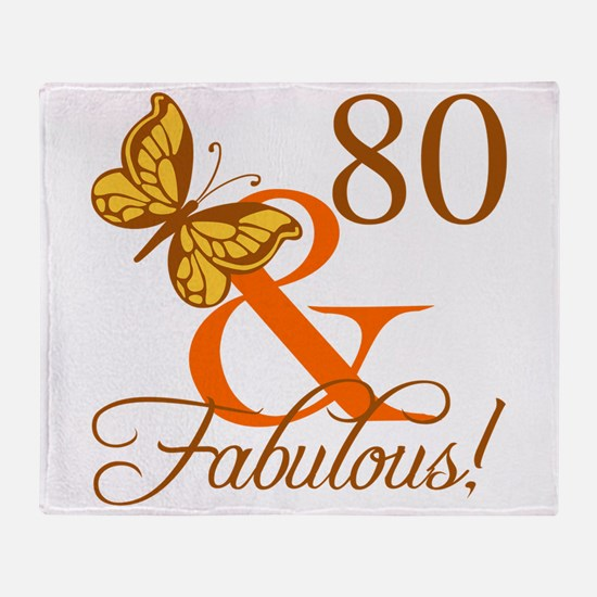 80th Birthday Butterfly Throw Blanket