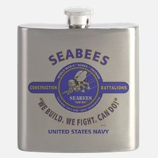 """SEABEES UNITED STATES NAVY """"WE BUILD, WE FIG Flask"""