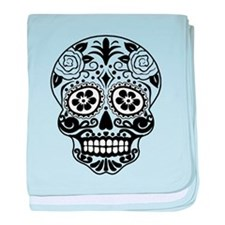 Sugar skull black and white baby blanket