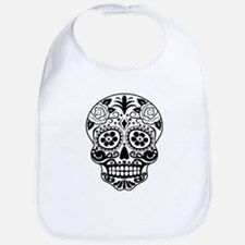 Sugar skull black and white Bib