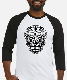 Sugar skull black and white Baseball Jersey