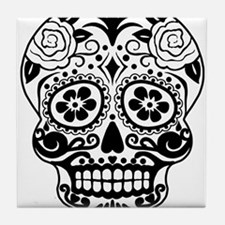 Sugar skull black and white Tile Coaster