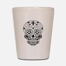Sugar skull black and white Shot Glass