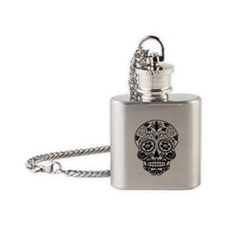 Sugar skull black and white Flask Necklace