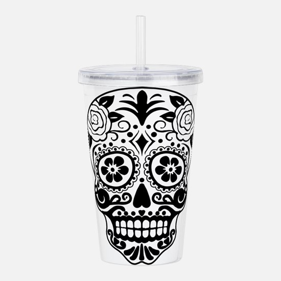 Sugar skull black and Acrylic Double-wall Tumbler