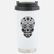 Sugar skull black and w Stainless Steel Travel Mug