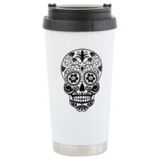 Sugar skull black and w Travel Mug