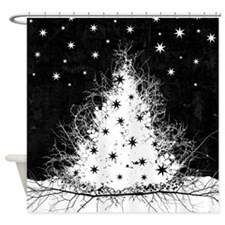 Gothic Branches Christmas Tree Shower Curtain