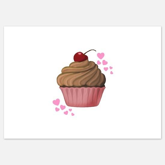 Pink Heart Cupcake Invitations