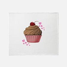 Pink Heart Cupcake Throw Blanket