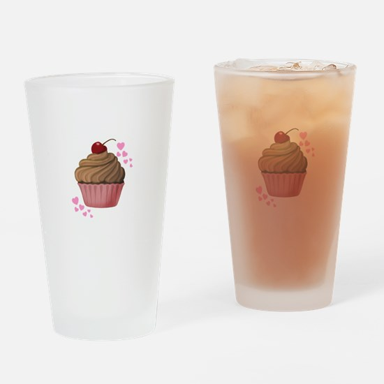 Pink Heart Cupcake Drinking Glass