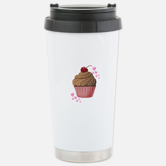 Pink Heart Cupcake Travel Mug