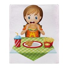 A child eating at a fastfood restaur Throw Blanket