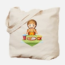 A child eating at a fastfood restaurant Tote Bag