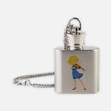 A pretty girl playing the violin Flask Necklace