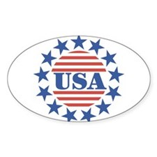 USA Fourth of July Oval Decal