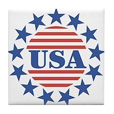USA Fourth of July Tile Coaster