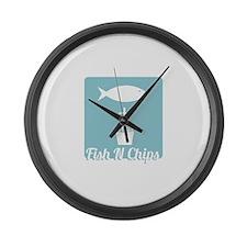 Fish N Chips Large Wall Clock