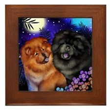 Red And Black Chow Dogs Moon Garden Framed Tile