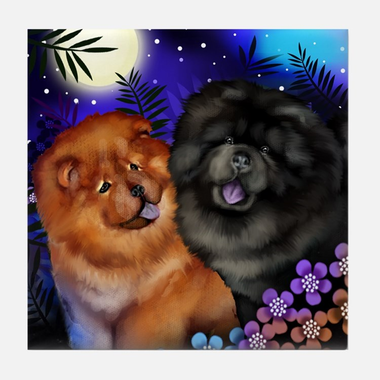 Red And Black Chow Dogs Moon Garden Tile Coaster