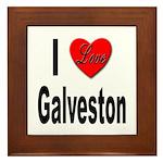 I Love Galveston Framed Tile