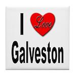 I Love Galveston Tile Coaster