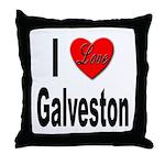 I Love Galveston Throw Pillow