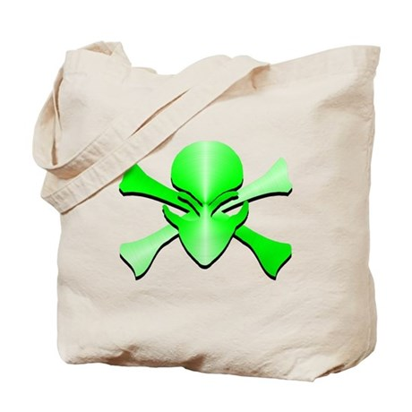 Metal Skull N Crossbones Green Tote Bag