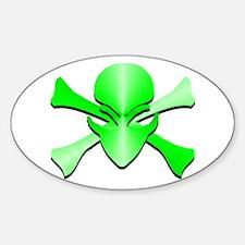 Metal Skull N Crossbones Green Oval Decal
