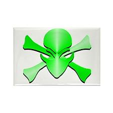 Metal Skull N Crossbones Green Rectangle Magnet