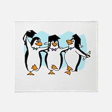 Graduation Dancing Penguins Throw Blanket