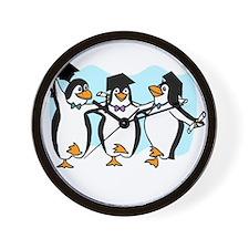 Graduation Dancing Penguins Wall Clock