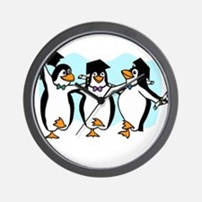 Graduation Dancing Penguins Wall Clock