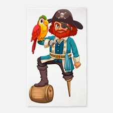 Pirate and parrot 3'x5' Area Rug