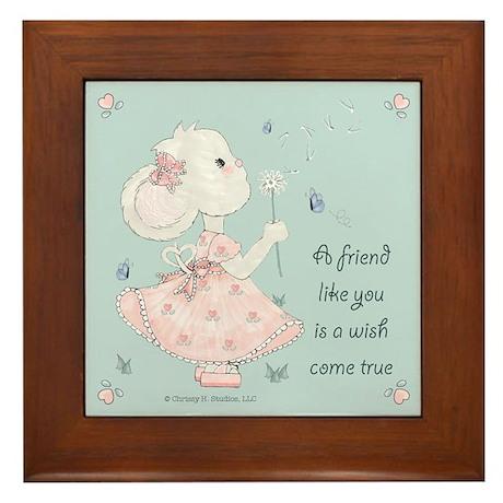 Mouse Dandelion Wish Friendship Gift Framed Tile