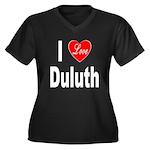 I Love Duluth (Front) Women's Plus Size V-Neck Dar